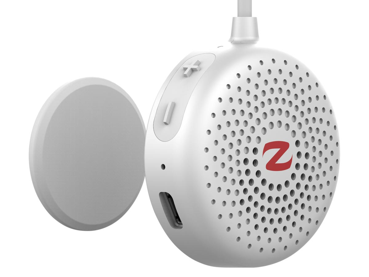 zulu alpha wearable speakers white close up left
